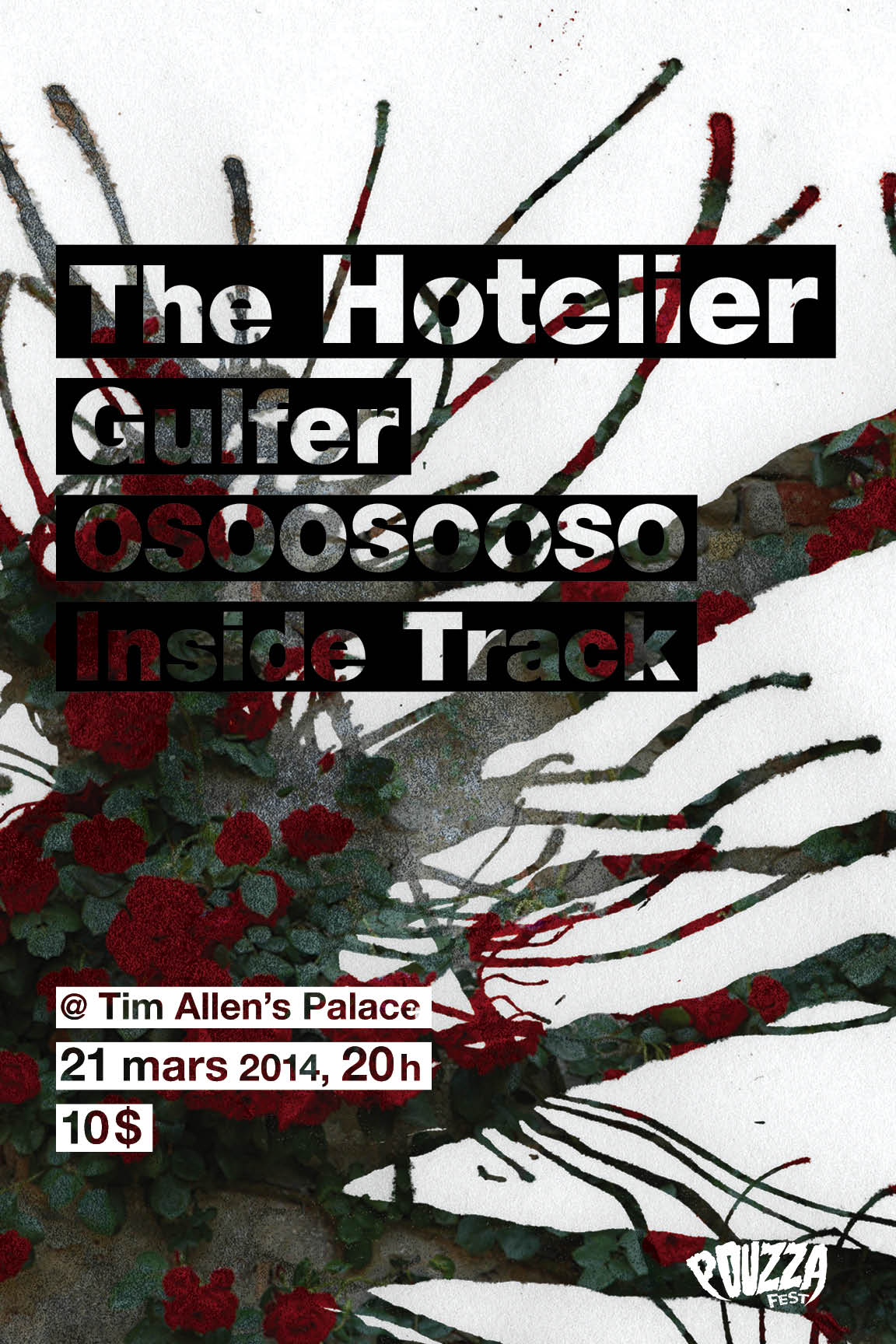 The Hotelier / Gulfer / Osoosooso / The Inside Track @ Tim Allen's Place le 21 mars