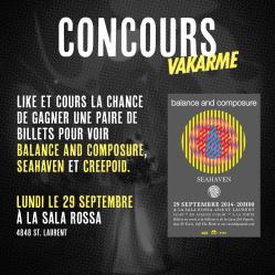 [CONCOURS] Balance and Composure, Seahaven et Creepoid le lundi 29 septembre à la Sala Rossa